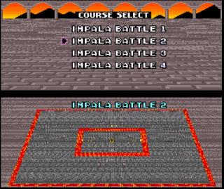 Screenshot Thumbnail / Media File 1 for Super Mario Kart (USA) [Hack by Ok Impala v1.0] (~Super Mario Kart - The Impala Battles) (Custom Battle Tracks)